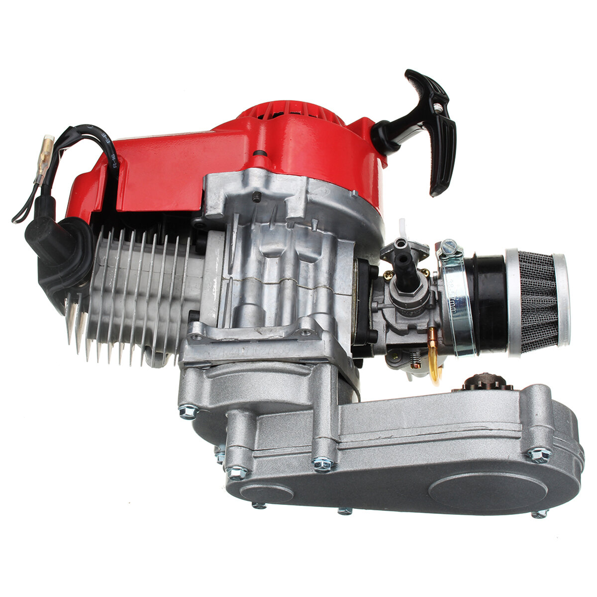 49cc Engine 2-Stroke Pull Start with Transmission For Mini Moto Dirt Bike  Red