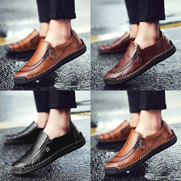 Menico Casual Comfy Soft Moc Toe Slip On Leather Oxfords - 9