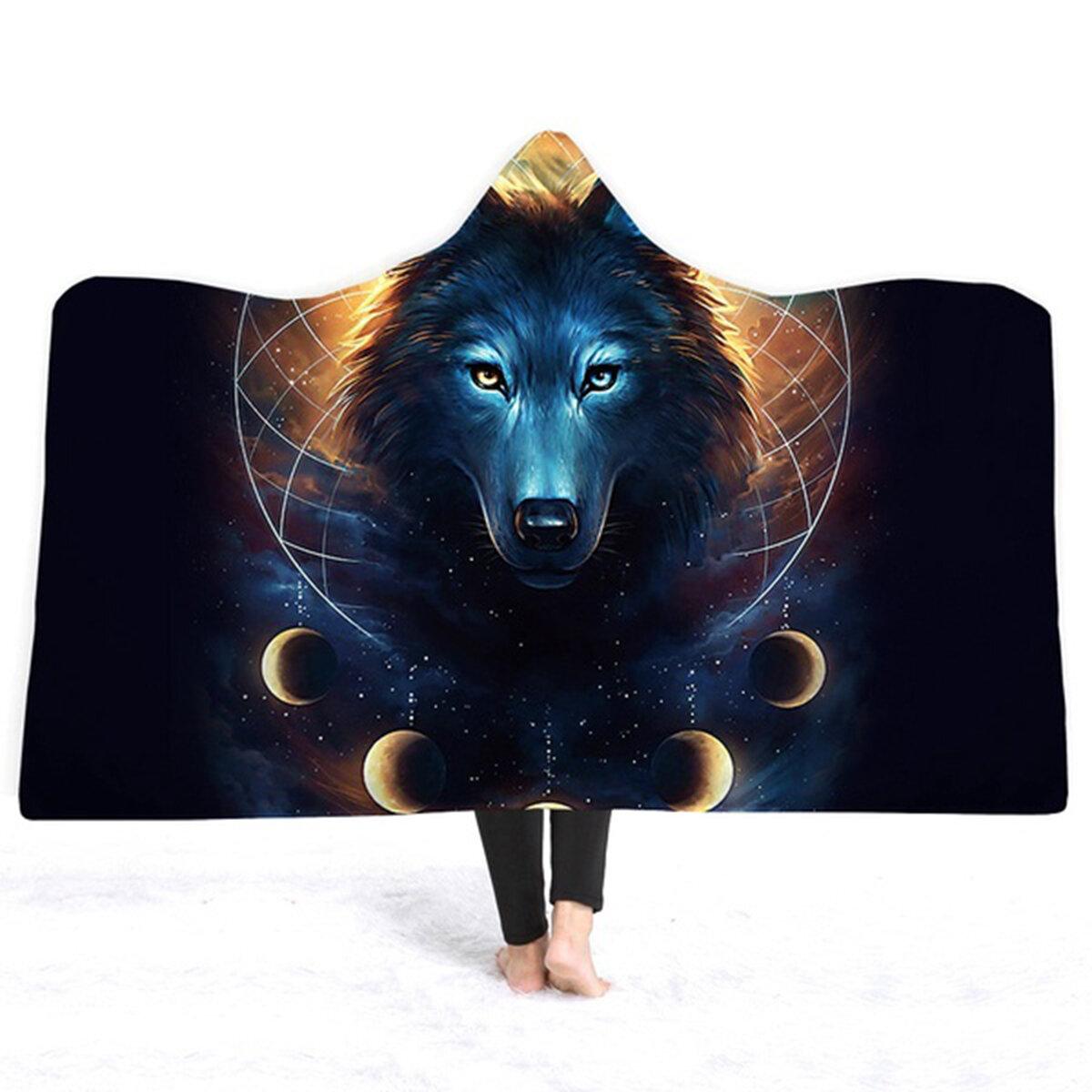 3D волк одеяла с капюшоном короткий плюшевый плащ Soft теплые простыни обложки - 1