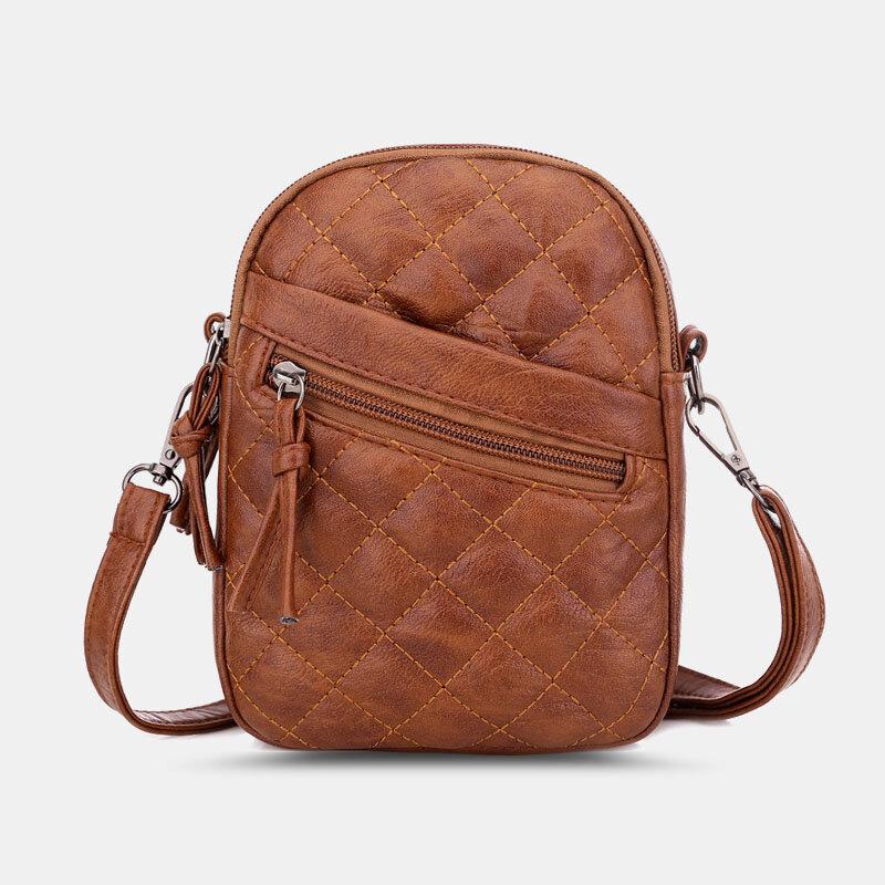 Women PU Leather Argyle Pattern Earphone Hole Casual 6.3 Inch Phone Bag Crossbody Bags Shoulder Bag