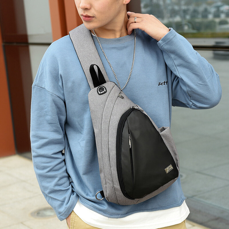 Unisex Nylon Light Weight Contrast Color Casual Outdoor Travel Multi-carry Shoulder Bag Crossbody Bag Chest Bag