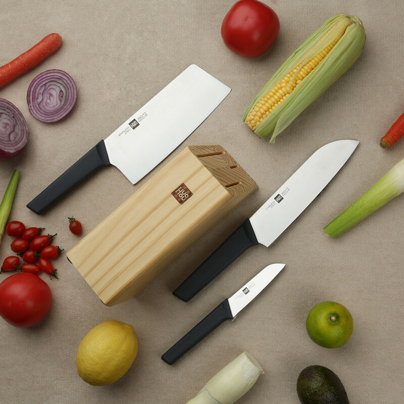 HuoHou 4 Pcs Non_Stick Stainless Steel Kitchen Knife Set Chef Knife Chopper Cleaver Slicer Fruit Knife Blade from Xiaomi Youpin