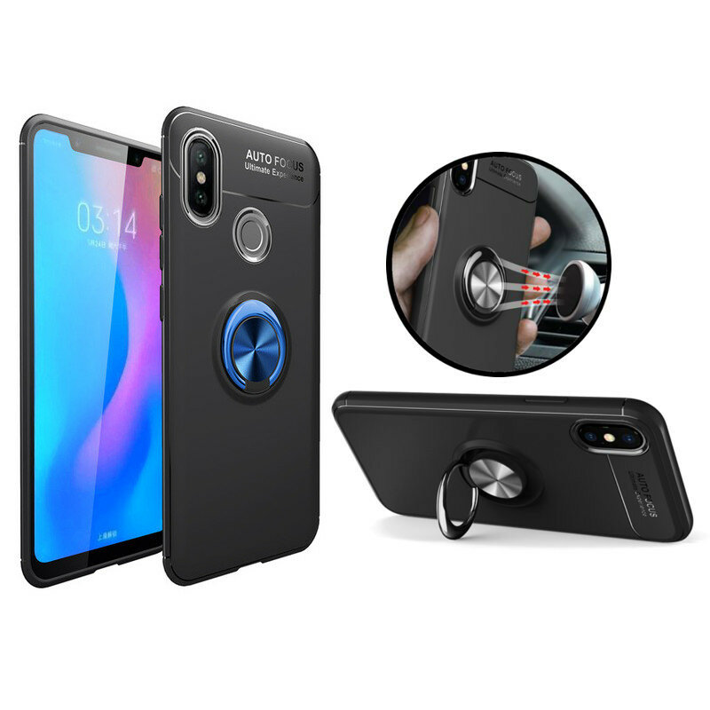 Bakeey Shockproof Magnetic 360° Rotation Ring Holder TPU+PC Protective Case For Xiaomi Mi8 Mi 8