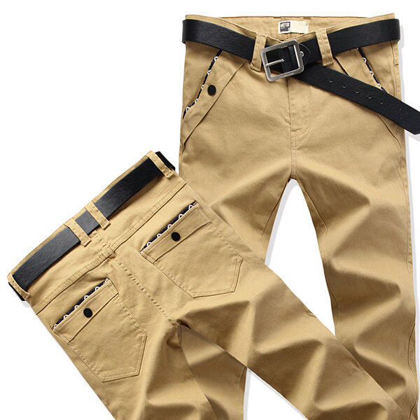 Big Size 30 44 Fashion Korean Casual Straight Slim Pants Men's Solid Color Trousers - 6