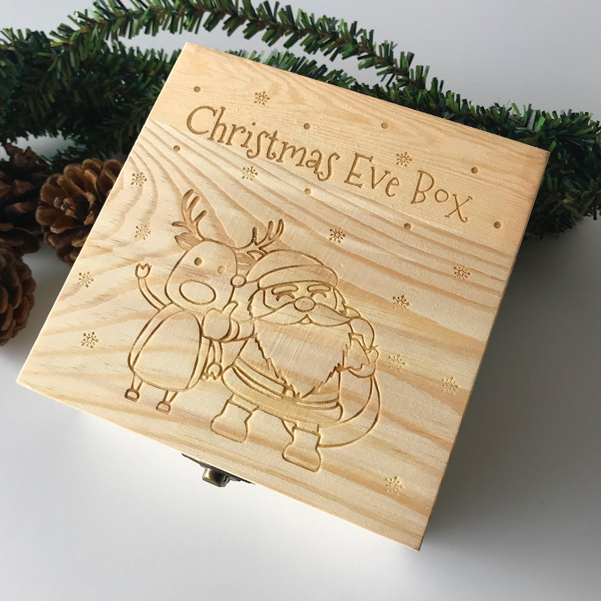 Wood Christmas Decorations.Wooden Christmas Eve Gift Box Engraved Wood Box Chocolate Packaging Party Home Decorations