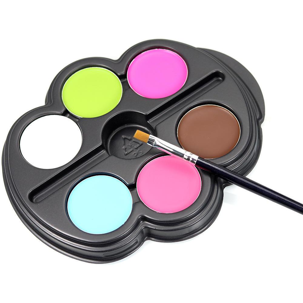Popfeel 6 цветов Хэллоуин Facial Art Макияж Палитра Щетка Нетоксичная детская краска для тела Масло Тату