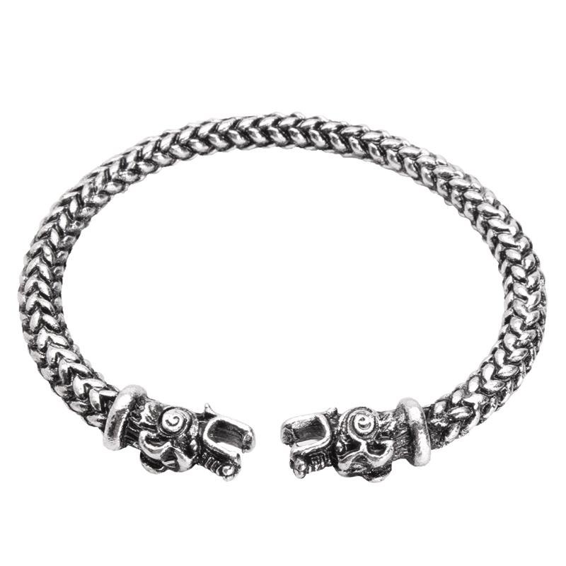 Vintage Viking Dragon Head Adjustable Norse Mythology Jormungandr Bracelet for Men