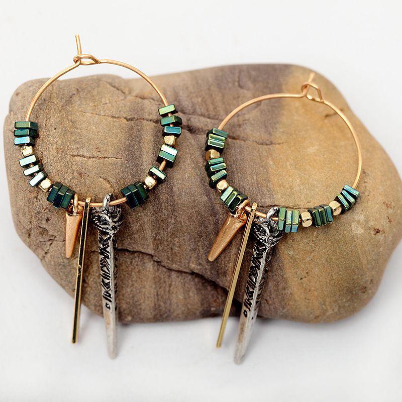 African Green Ore Texture Earrings Geometric Circle Ear Drop Earring For Women