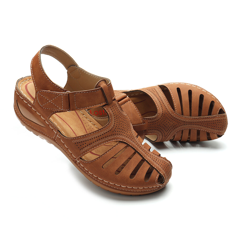 LOSTISY Women Lightweight Casual Shoes Hollow Out Soft Sole Sandals - 7