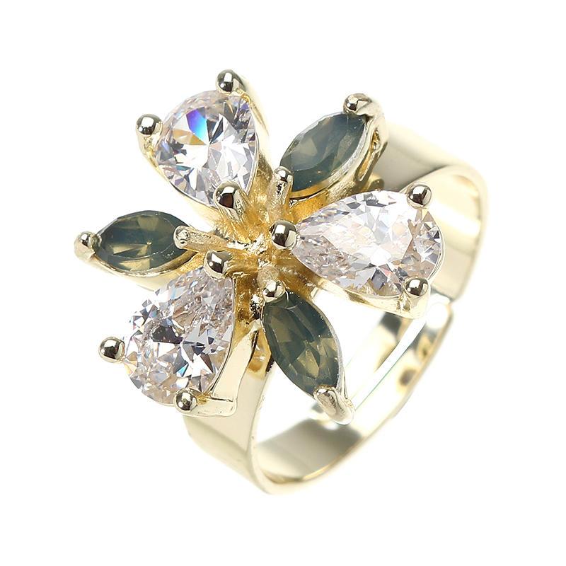 JASSY® Elegant Women Adjustable Ring Gold Plated Trinity Drop Flower Zircon Gift Gemstone Jewelry
