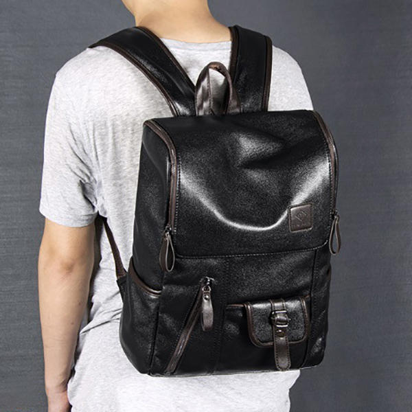 Ekphero Men Solid Casual Multifunction Laptop Flap Backpack - 7