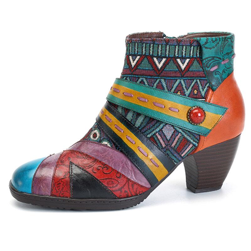 SOCOFY Богемианский шов Шаблон Застежка -молния Кожа Ботинки Обувь