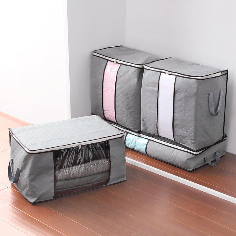 High Capacity Clothes Quilts Storage Bags Folding Organizer Bags Bamboo Portable Storage Container - 3