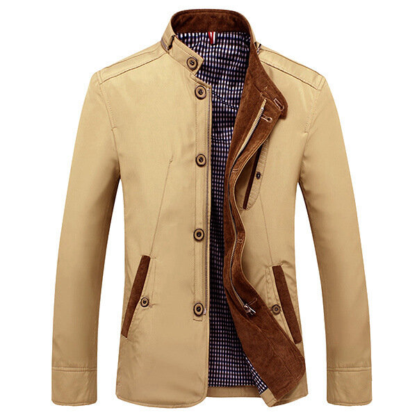 Mens Casual Business Slim Fit Zipper Single breasted Stand Collar Personality Fashion Jacket - 1