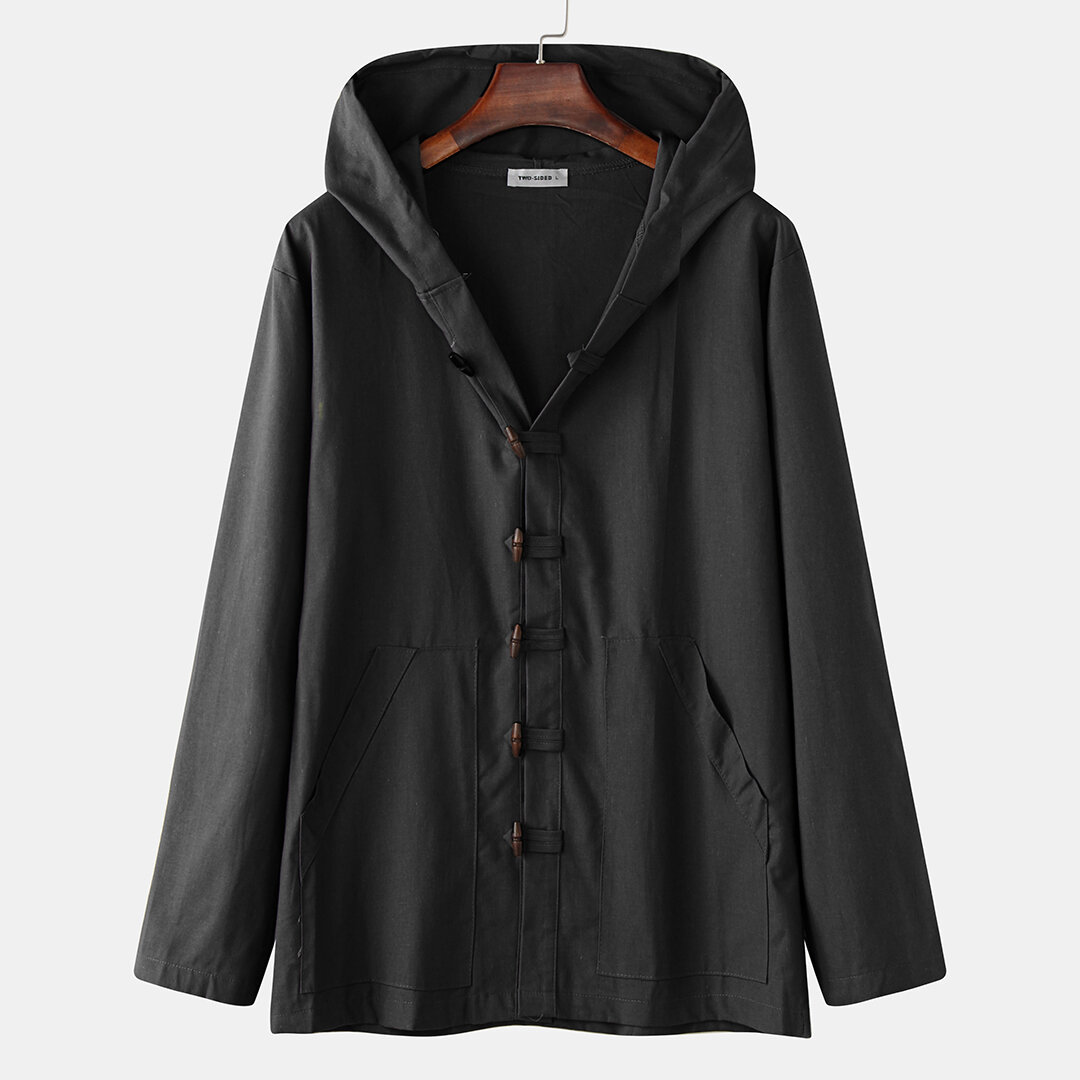 Mens Vintage Buttons Stand Collar Thick Casual Mid Long Coat - 7