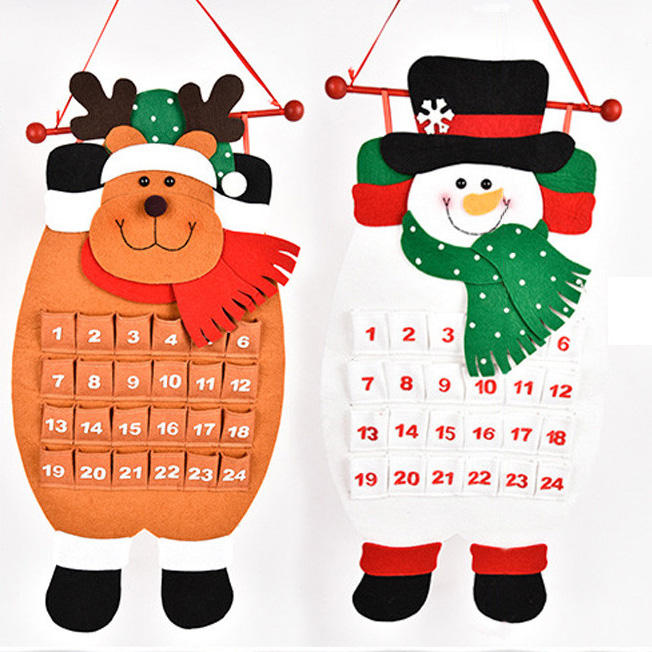 Christmas Countdown Calendar.Christmas Countdown Calendar Snowman Deer Hanging Advent Calendar Decorations Home Decor