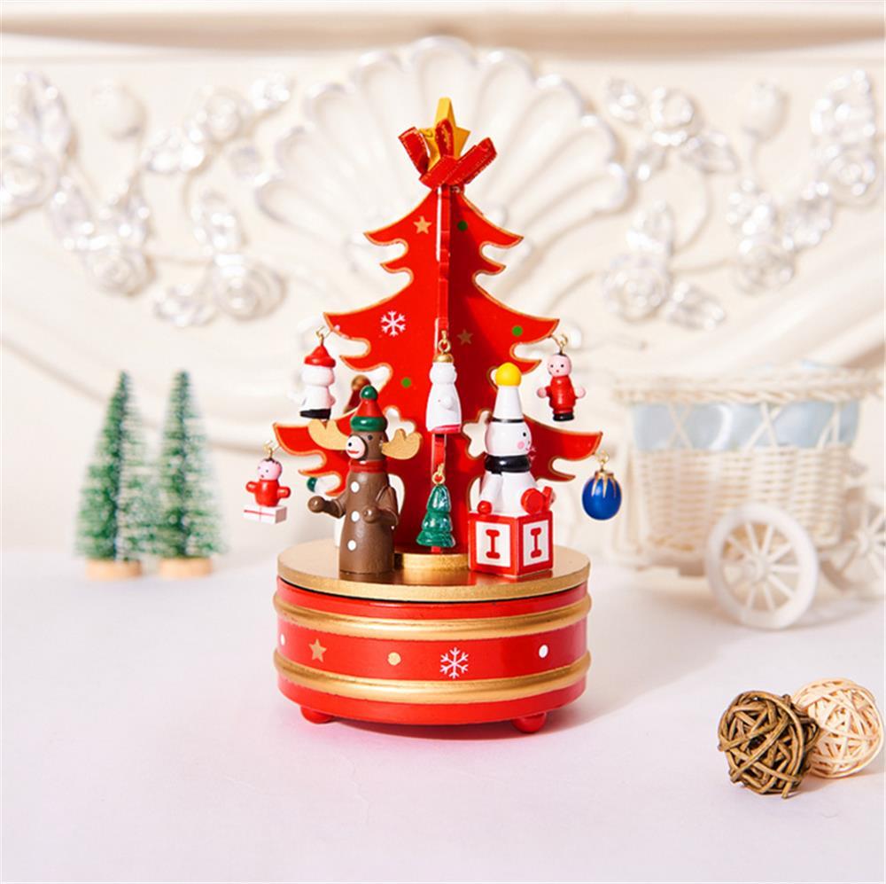 Christmas Decorations Creative Wooden Christmas Tree / Deer Old Man Music Box Ornaments Christmas - 3