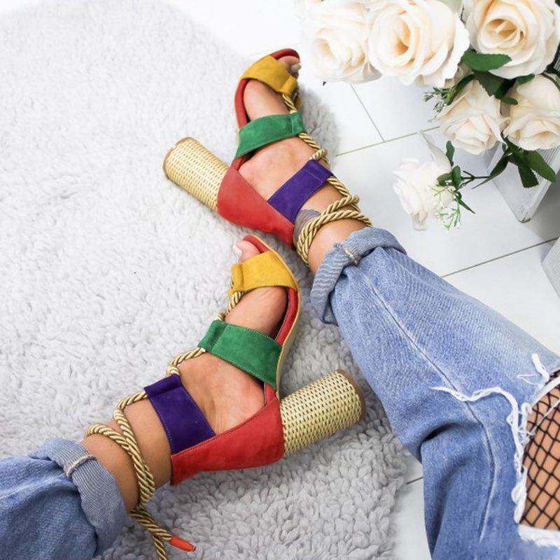 Colorful Casual Suede High Heeled Lace Up Sandals - 3