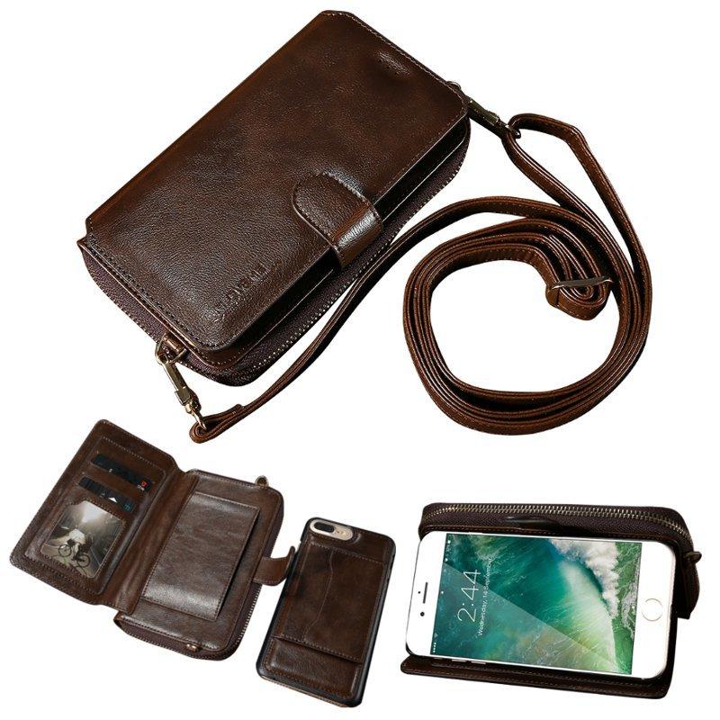 Floveme Avtakbar glidelås lommebok til iPhone 7 Plus/8 Plus