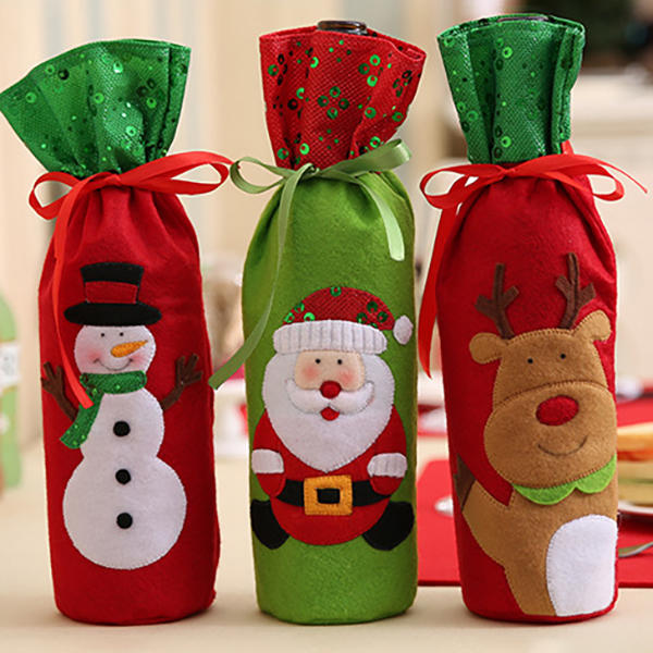 Christmas Bottle Bag Decor Set Santa Claus Snowman Deer Bottle Cover Clothes Kitchen Decoration - 1