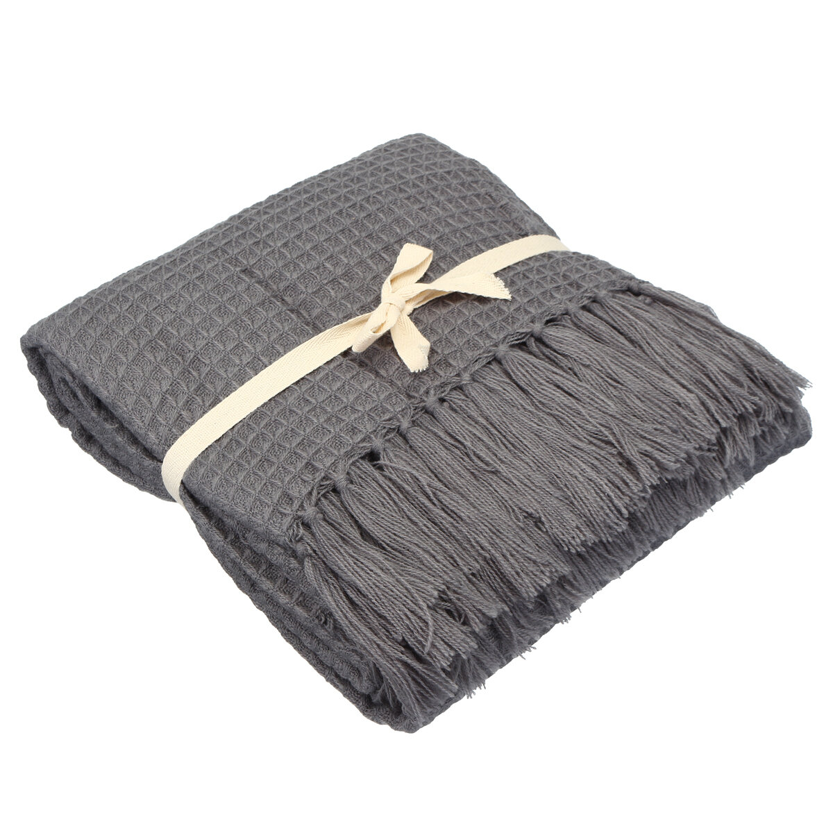 Soft Knitted Throw Blankets Bed Sofa Couch Decorative Fringe Waffle Pattern - 1