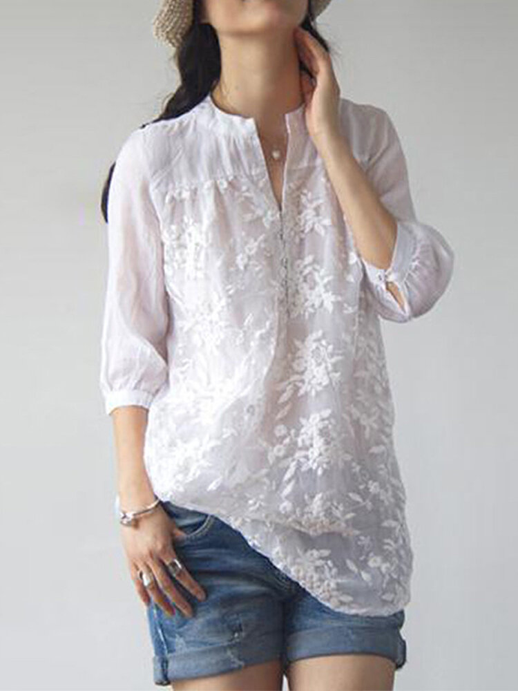 Women Retro Long Sleeve V Neck Floral Embroidery Blouse - 1