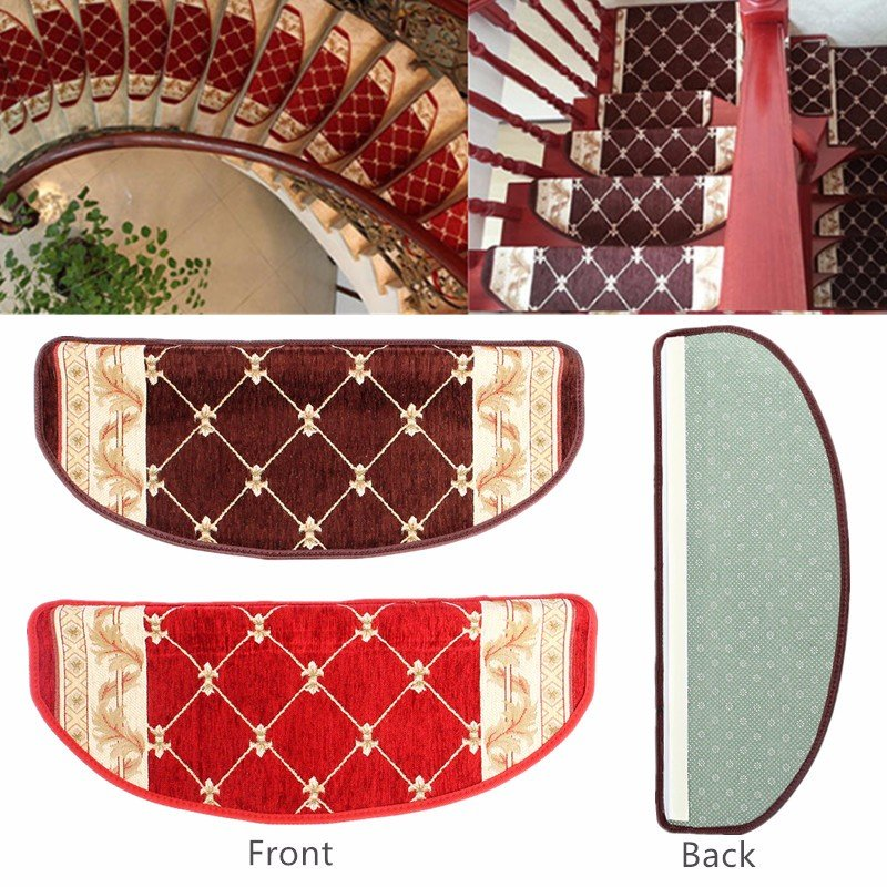 European Style Pastoral Carpet Stair Tread Anti Skid Step Rugs Stair Mats With Magic Paste - 2