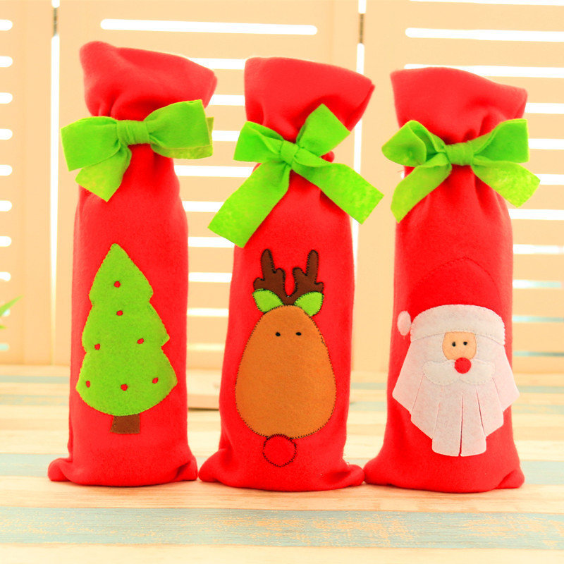 Christmas Decoration Red Santa Tree Elk Wine Bottle Cover Bags Dinner Party Gift - 1