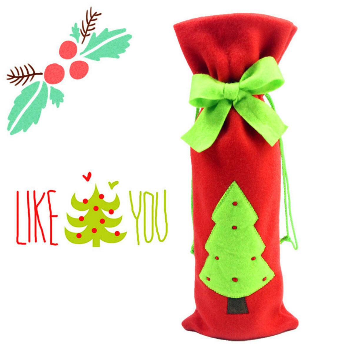 Christmas Decoration Red Santa Tree Elk Wine Bottle Cover Bags Dinner Party Gift - 7