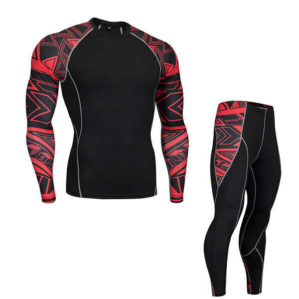 PRO Compression Running Training Sports Suit Men Quick Drying Breathable Tights Jogger Gym Sportwear - 1