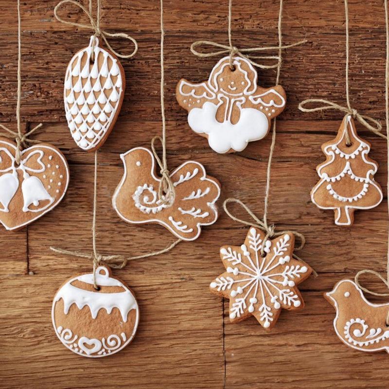 11pcs animal de la historieta galletas copo de nieve que cuelgan decoraciones hechas a mano del ornamento del árbol de navidad