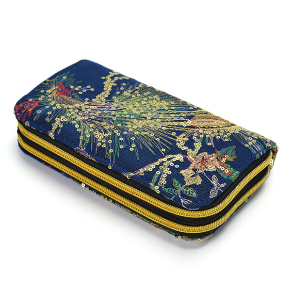 Women Embroidered National Style Wallet 6 Inches Phone Bag Card Holder Clutch Bag