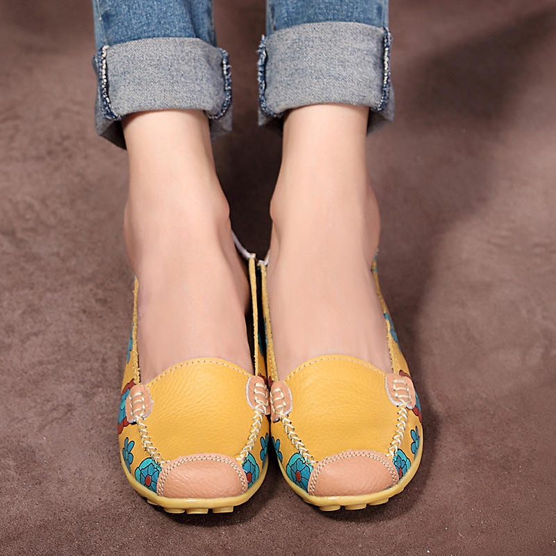 Big Size Women Flower Floral Leather Loafers Moccasins Flats Soft Ballet Shoes Round Toe Flats - 4