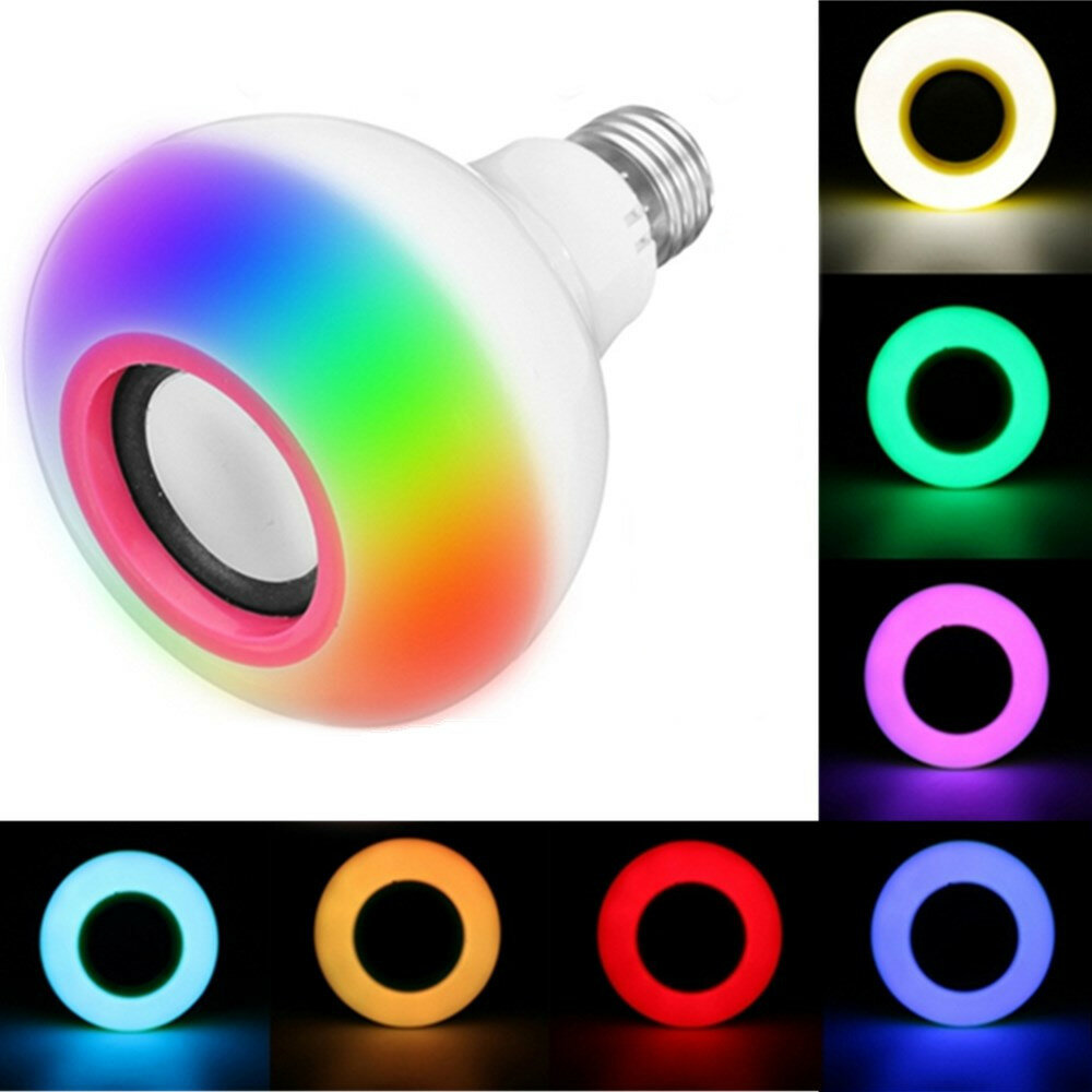 E27 12W SMD2835 RGB bluetooth Speaker Music Play LED Smart Light Bulb with Remote Control AC85-220V