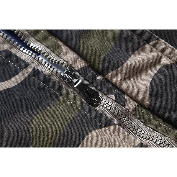 Manteau de camouflage militaire d'impression de camouflage de Mens debout le manteau extérieur d'épaulette de coton de col - 11