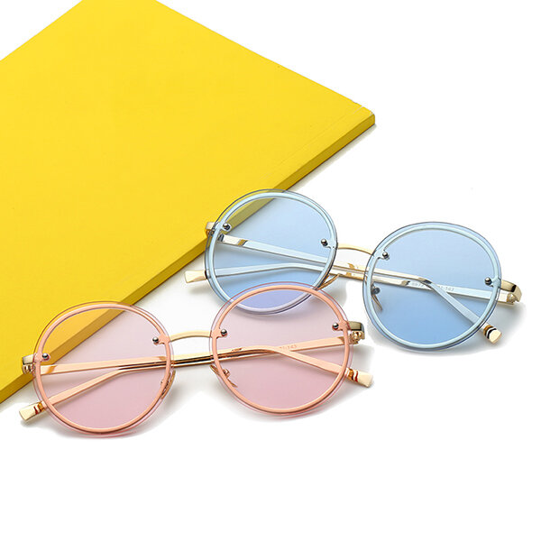 44a7761ffeb4 women vintage uv protection sun glassess round metal frame outdooors ...
