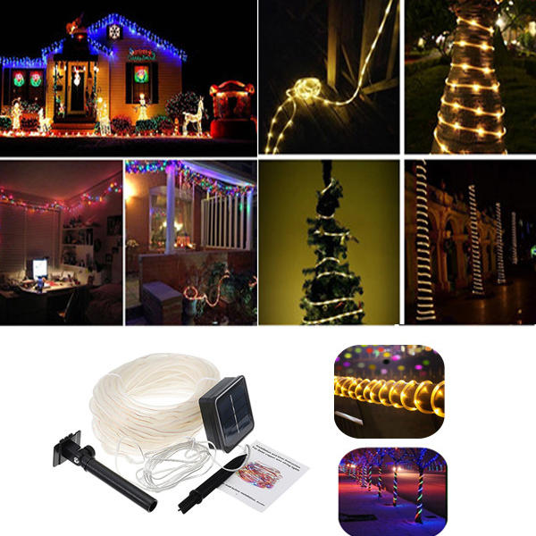 Solar Powered 12M 100LEDs Copper Wire Tube Waterproof Fairy String Light For Christmas