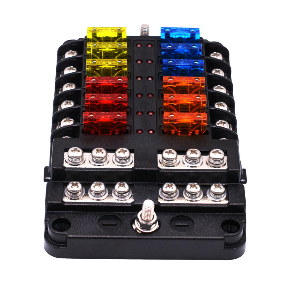 1 in 12 out way car fuse box power plug type fuse box seat with led  indicator cod