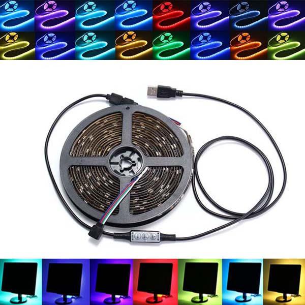 0.5 / 1/2/3/4 / 5M non imperméable à l'eau USB RGB SMD5050 LED Strip Light TV éclairage de fond Kit DC5V - 1
