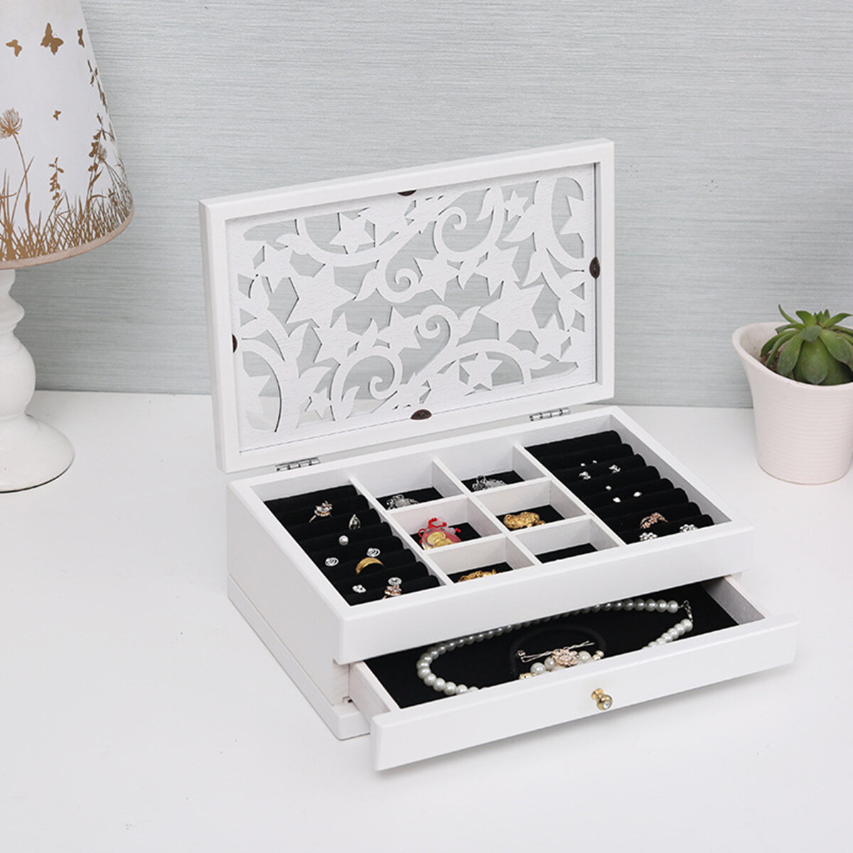 Fashion Jewelry Storage Box Leather Earrings Necklace Rings - 9