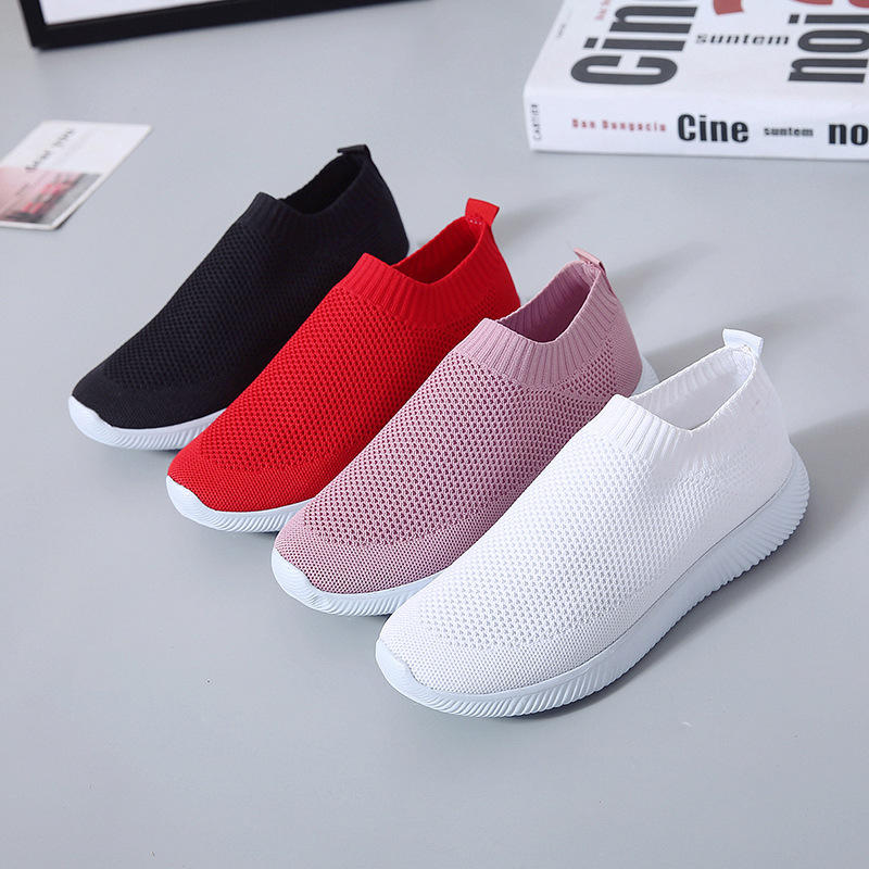 Women Mesh Hook Loop Zipper Wedges Casual Sneakers - 4