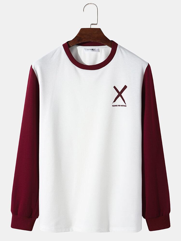 Mens Patchwork Cross Printing Long Sleeve T-Shirt