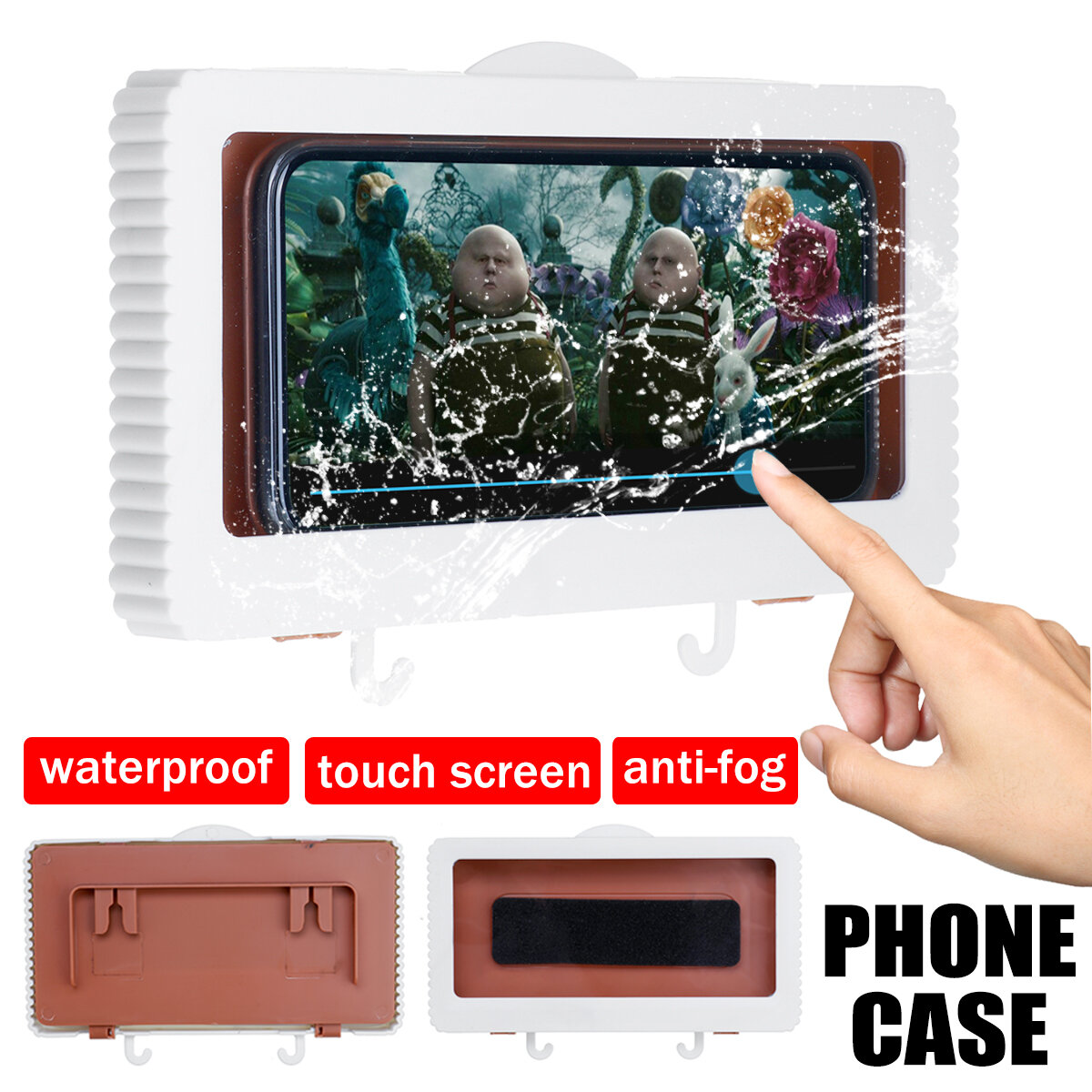 Touch Screen Waterproof Mobile Phone Case Bathroom Wall Mounted Holder Storager Sealed Organizer for Smartphone up to 6.