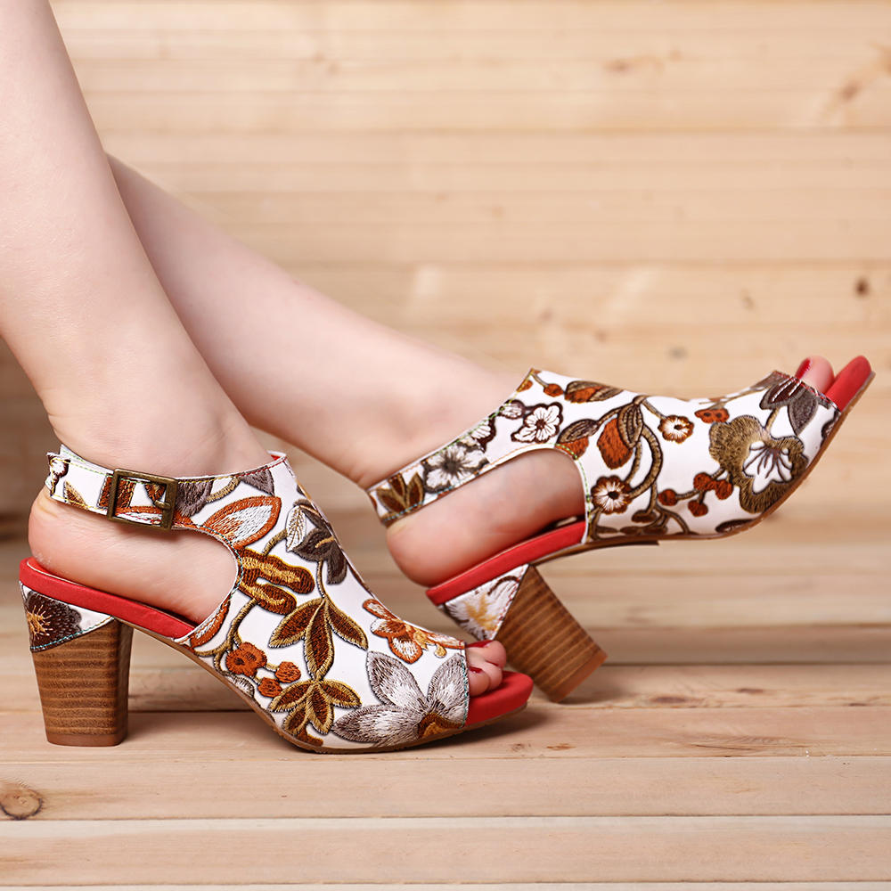 SOCOFY Handmade Flowers Hook Loop Leather Heeled Sandals - 6