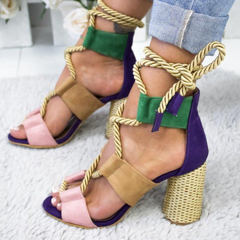 Colorful Casual Suede High Heeled Lace Up Sandals - 5