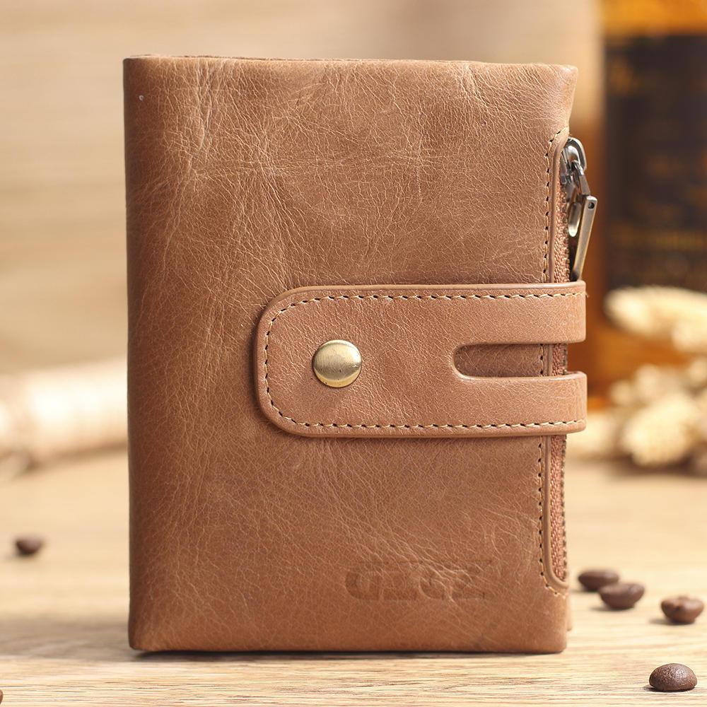 Men Women Retro Genuine Leather Tri-fold Wallet Card Holder Double Zipper Wallet