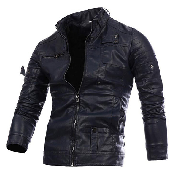 PU Leather Motorcycle Thick Jacket Fashion Casual Atumn Wint - 4