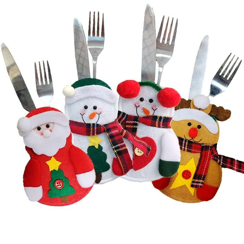 Christmas Party Home Table Decoration Snowman Elderly Ek Cutting Tool Fork Bag Cover Suit Toys Kids Gift