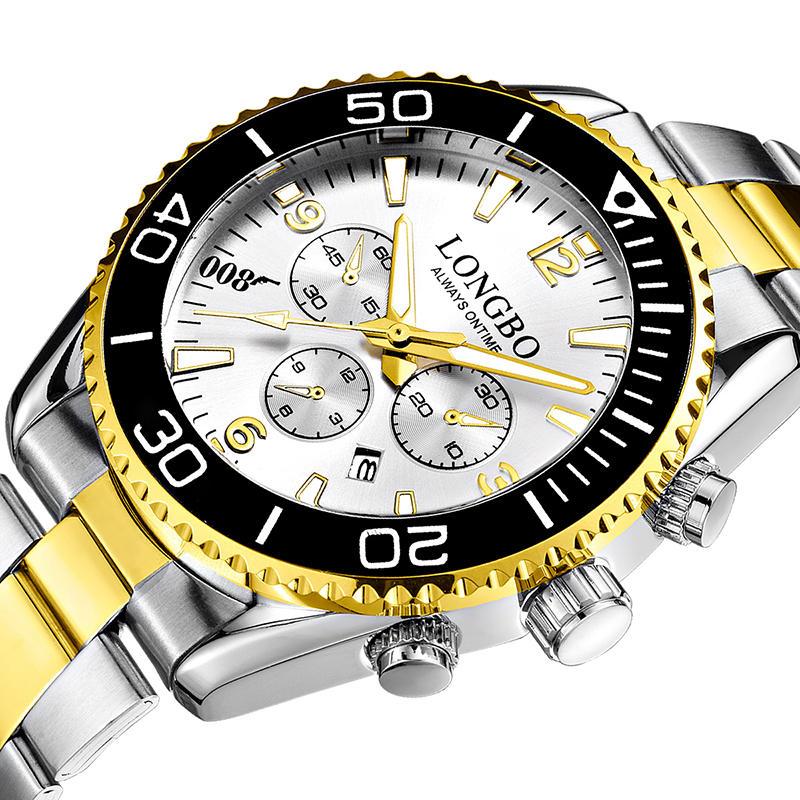 LONGBO 80523 Fashion Full Steel Luminous Display Waterproof Business Style Men Quartz Watch