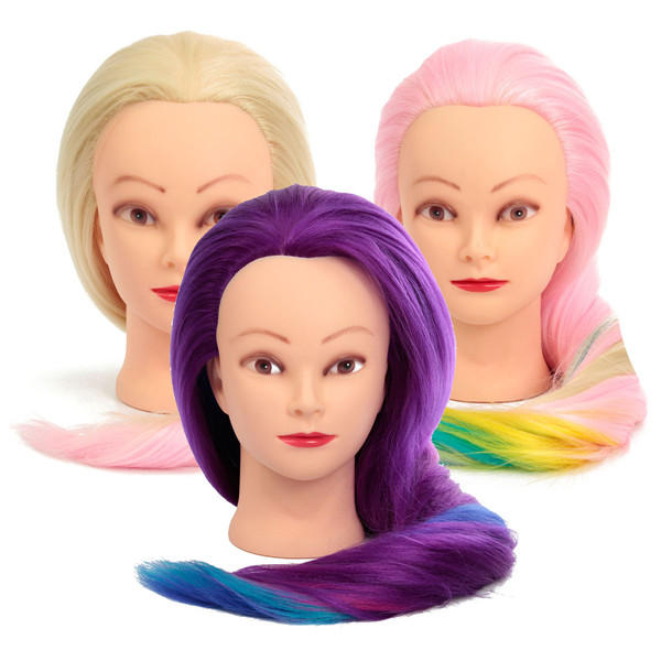 27'' Colorful Practice Training Head Long Hair Mannequin Hairdressing Salon Model - 3